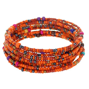 Orange Sequin Beaded Coil Wrap Bracelet