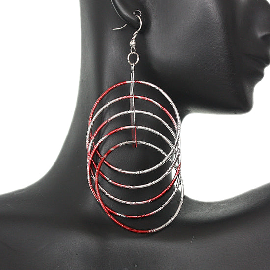 Red Intertwined Hoop Earrings