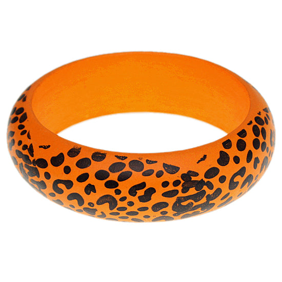 Orange Oversized Wooden Cheetah Bangle Bracelet