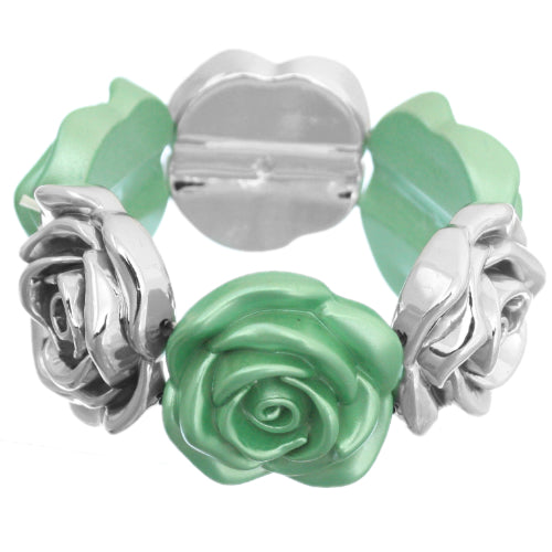 Paris Green Floral Stretch Bracelet