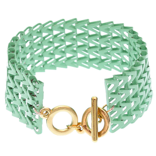 Green Chevron Toggle Chain Bracelet