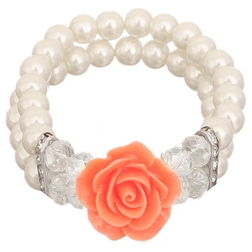 Orange Faux Pearl Flower Stretch Bracelet