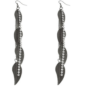 Pewter Rhinestone Drop Chain Leaf Earrings