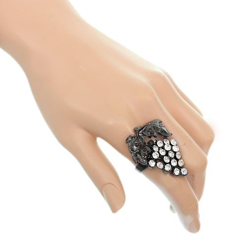 Hematite Rhinestone Adjustable Leaf Strawberry Ring