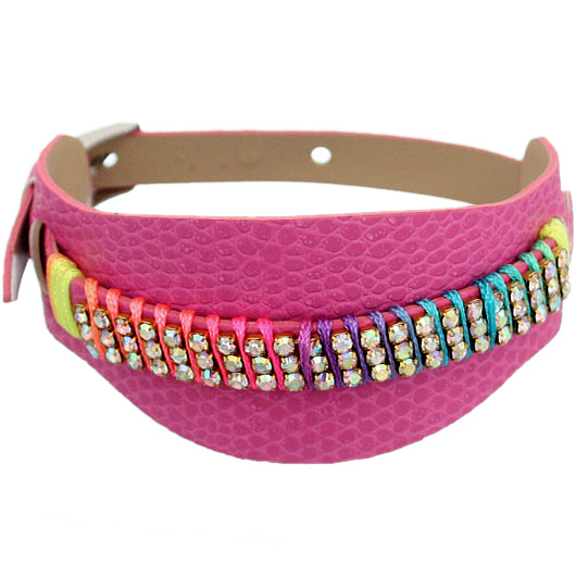 Pink Embossed Faux Leather Rhinestone Buckle Bracelet