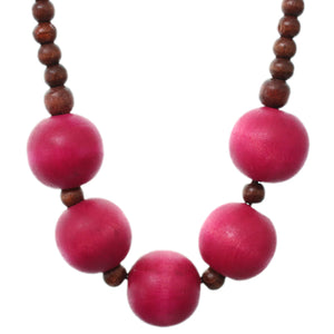 Pink Wooden Beaded Stretch Necklace Set