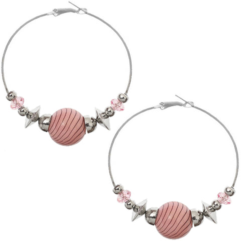 Pink Beaded Medium Hoop Earrings