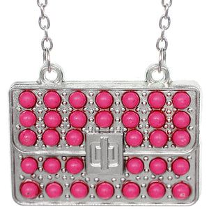Pink Beaded Charm Handbag Chain Necklace