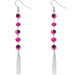 Pink Beaded Evil Eye Chain Earrings