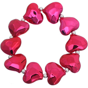 Pink Faceted Heart Stretch Bracelet