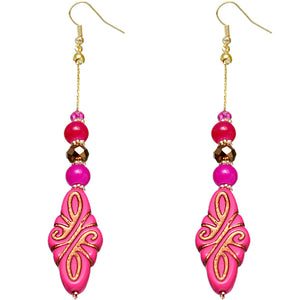 Pink Ethnic Carved Pattern Bead Drop Earrings