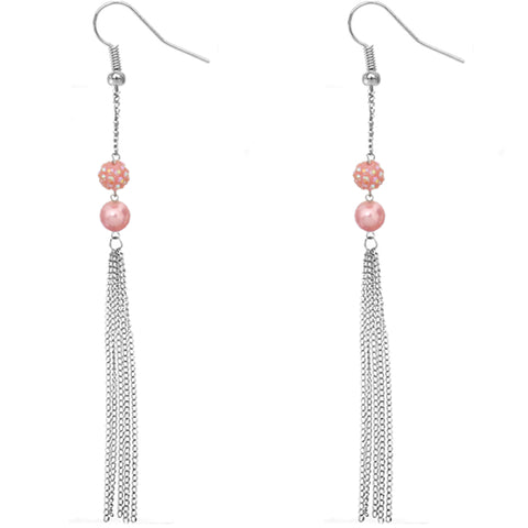Pink Beaded Fireball Chain Earrings