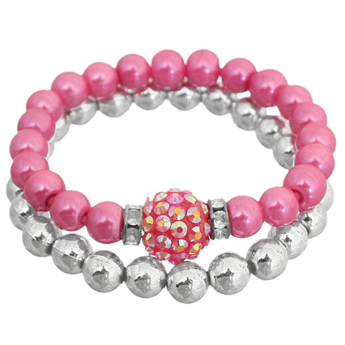 Pink Disco Fireball Beaded Stretch Bracelet Set