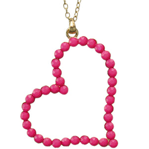 Pink Beaded Heart Charm Chain Necklace