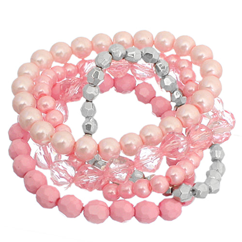 Pink 5-Piece Faux Pearl Stacked Bracelets