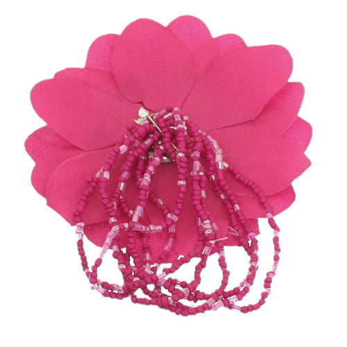 Pink Beaded Stretch Flower Bracelet