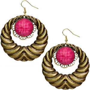 Pink Extra Large Gemstone Crescent Earrings