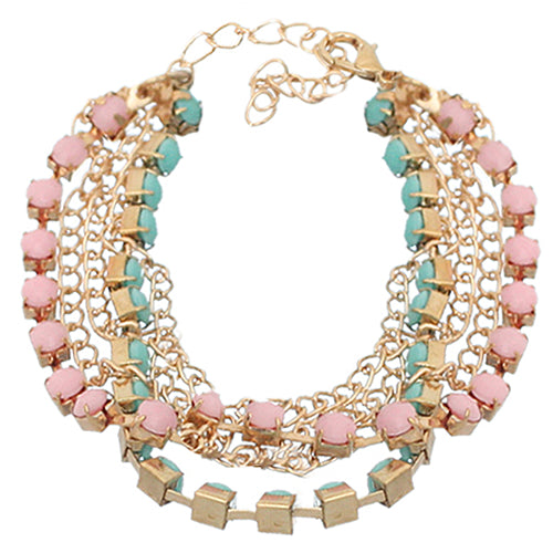 Pink Blue Beaded Chain Link Bracelet