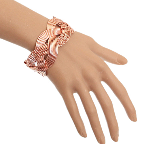 Rose Gold Braided Mesh Cuff Bracelet