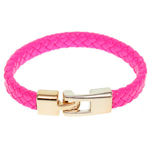 Pink Braided Woven Leather Latch Bracelet