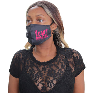 Pink I Can't Breath Filter Pocket Face Mask