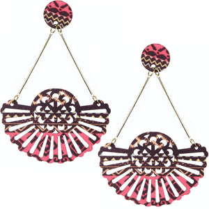 Brown Pink Boho Pattern Wooden Cutout Earrings