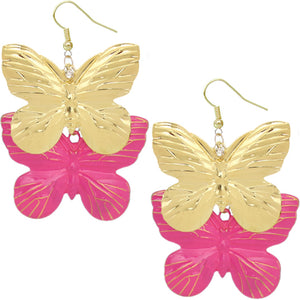 Pink Metal Butterfly Dangle Earrings