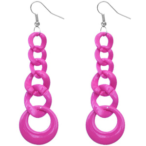 Pink Gradual Chain Link Earrings