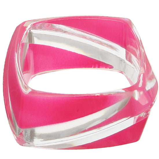 Pink Clear Striped Square Bangle Bracelet