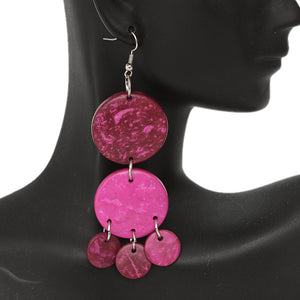 Pink Coconut Round Disc Earrings