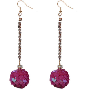 Magenta Pink Iridescent Confetti Ball Chain Earrings