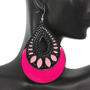 Pink Open Teardrop Earrings