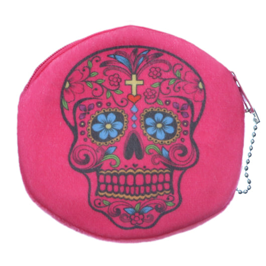 Pink Day of the Dead Skull Zipper Wallet