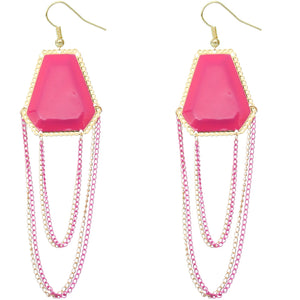 Pink Double Chain Geometric Dangle Earrings