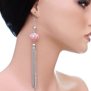 Pink Multi Chain Drop Earrings