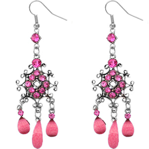 Pink Elegant Chandelier Gemstone Earrings