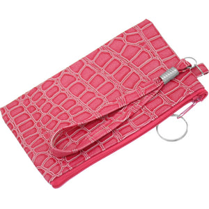 Pink Embossed Wristlet Key Chain Wallet