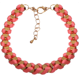 Pink Fabric Twisted Metal Clasp Bracelet