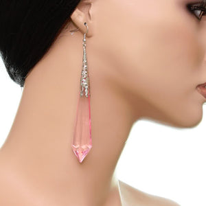 Pink Faux Crystal Pointy Earrings