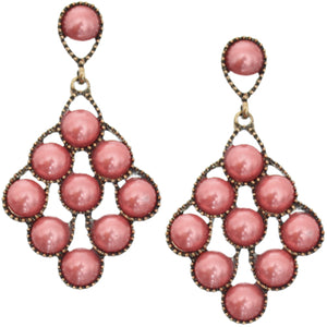 Pink Faux Pearl Open Beaded Post Earrings