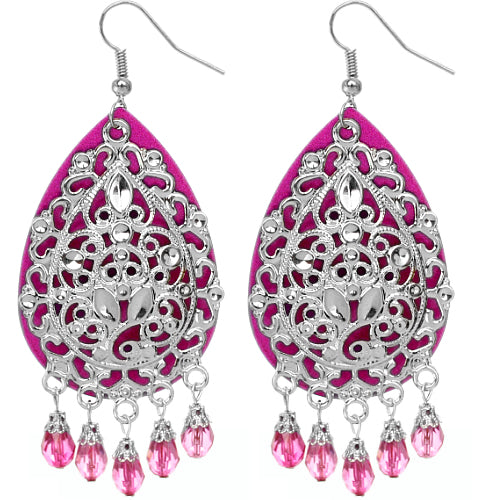 Pink Beaded Filigree Dangle Earrings