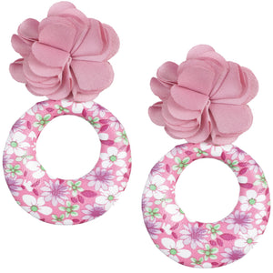Pink Floral Fabric Drop Hoop Earrings