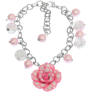 Pink Glass Ball Flower Charm Chain Bracelet