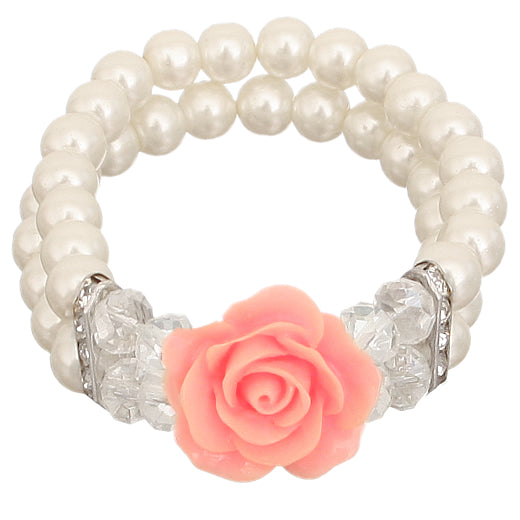 Pink Faux Pearl Flower Stretch Bracelet
