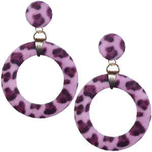 Pink Cheetah Faux Fur Hoop Earrings