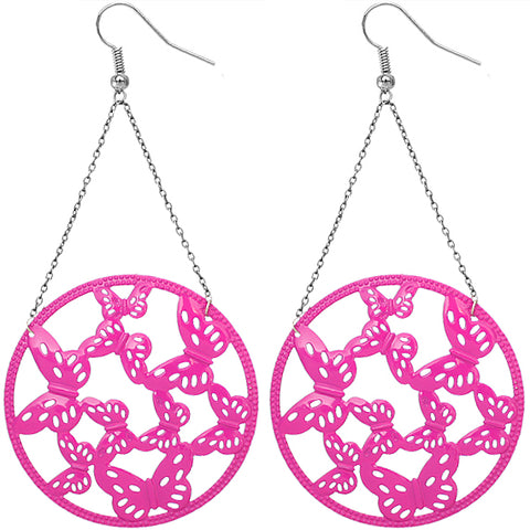 Pink Gigantic Butterfly Chain Earrings