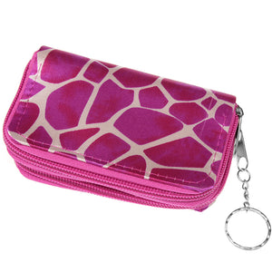 Pink Giraffe Print Double Pocket Key Chain Wallet