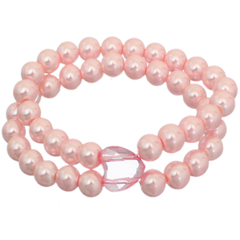 Pink Heart Beaded Stretch Bracelet