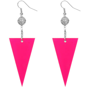 Pink Inverted Triangle Drop Chain Dangle Earrings