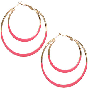Pink Double Layered Hoop Earrings